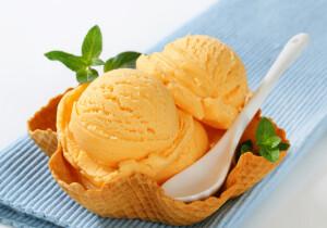 Orange sherbet in a waffle basket